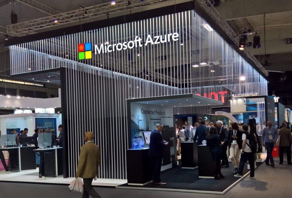stand de Microsoft en una feria
